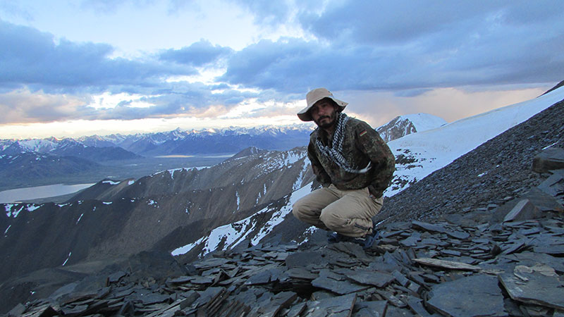 The author on a snow leopard survey in Tajikistan