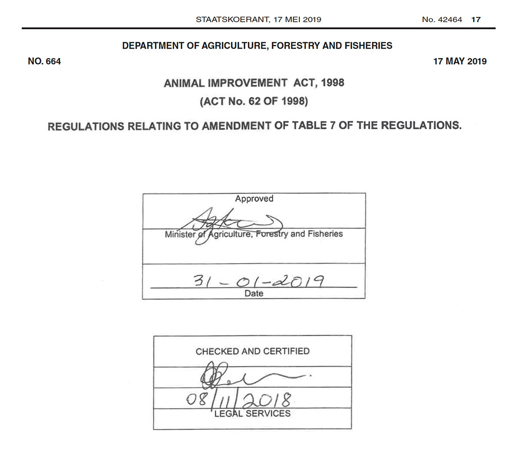 Snapshot of the header of the Animal Improvement Act 62 of 1998, signed by the Minister of Agriculture, Forestry and Fisheries on January 31, 2019, and published in the Government Gazette on May 17, 2019.